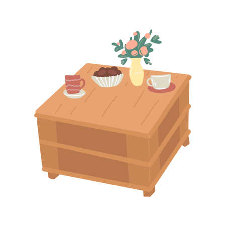 Wooden coffee table. Isolated on white background. Vector cartoon illustration 矢量图像