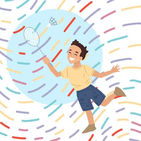 Card of kids sport badminton. A boy with a racket beats off a shuttlecock. Kids activity. Vector character illustration, banner design. Vetores