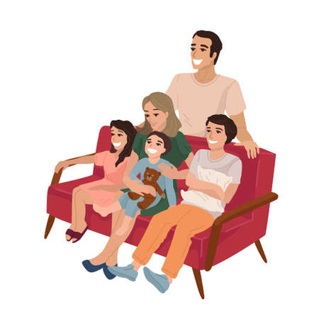 Big family with three children sitting on the sofa at home. Rest with relatives, day off, watching a movie. Vector isolated illustration