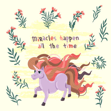Unicorn with flowers and Inscription. Cute cartoon isoleted pony on background. A jumping unicorn with a long mane. Kids vector illustration.