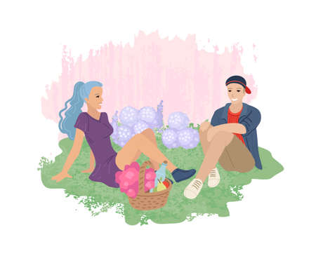 Boyfriend and girlfriend on a date. Picnic in the park on the lawn. Love, Valentine s Day, couple in love. Vector illustration.