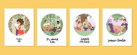 Card design Summer. Summer holidays with friends, family picnic, boyfriend and girlfriend date, lovers with flowers. Summer activity. Vector illustration. 矢量图像