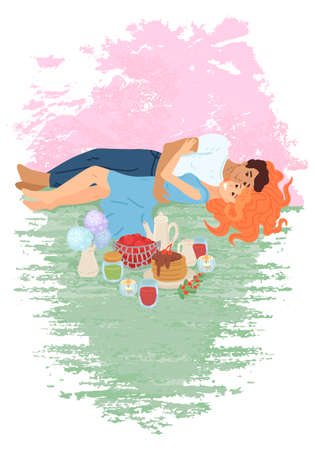Lovely couple has picnic in the park. Vector cartoon illustration