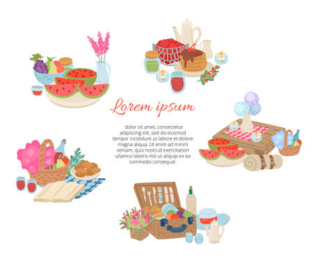 Picnic food and drink collection. Invitation card for celebration. Vector cartoon illustration