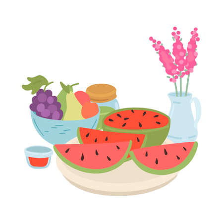 Watermelon and fruits on plate. Isolated on white. Vector cartoon illustration
