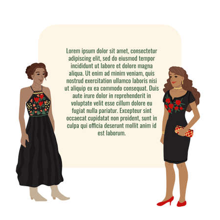 Mexican women, girls in traditional costumes. Embroidered dresses. Vector illustration for your text. Cartoon characters.