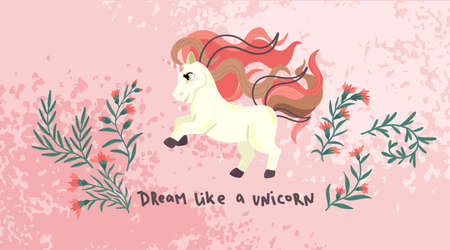 Unicorn with flowers. Cute cartoon pony on pink background. Childrens vector illustration. Horizontal drawing, print, for textile. Ilustração