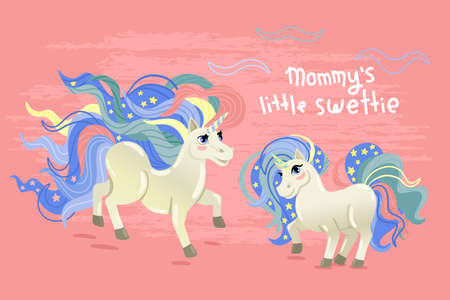 Mom and daughter unicorns. Figure with an inscription, isolated on a pink background. Childrens illustration for clothes. Cartoon design