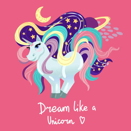 Unicorn stands, stars and the moon around. Space on pink background. Colored large mane. Vector childrens cartoon illustration.