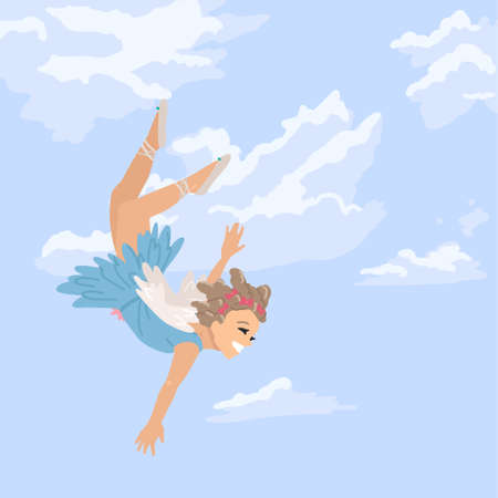Fairy girl flies in the sky, a fairy in the clouds, a girl dressed as an angel. Vector illustration of cartoon character, square postcard cover. 矢量图像