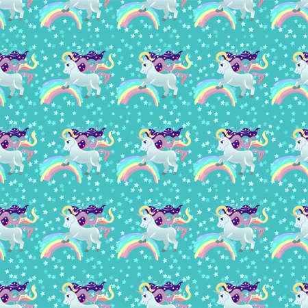 Unicorn pattern. Pony and stars. Vector seamless pattern with white unicorns, rainbow and stars. Isolated on a mint color background.