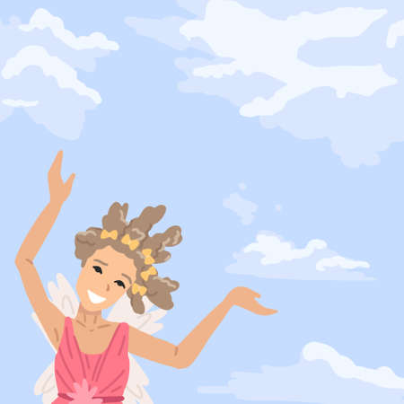 Little child, girl in fairy dress, an angel with wings in sky, stands shows, symbol of the fulfillment of dream, flight in sky. Vector illustration 矢量图像