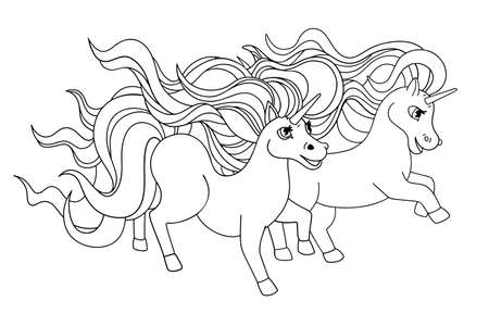 Pair of running unicorns. Outline drawing, lines for coloring, black and white illustration for childrens drawing. Vector cartoon design.