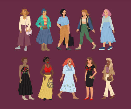 Different races and nationalities of women. A set of characters. Banner design, people illustration. 矢量图像