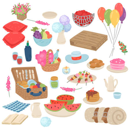 Set of elements for picnic. Food and drink collection. Isolated on white. Vector cartoon illustration