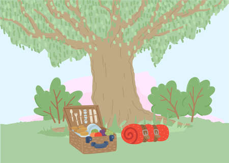 Picnic basket and plaid or tent under the tree. Illustration of outdoor recreation. Camping. Vector drawing Ilustração