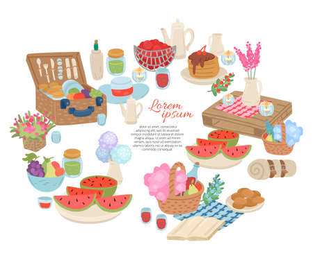 Picnic food and drink collection. Invitation card for party. Vector cartoon illustration