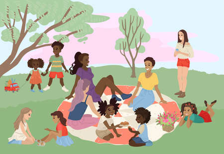 Young moms with kids on a picnic in the park. Vector drawing