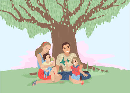 Happy family in the nature. Vector cartoon illustration 矢量图像
