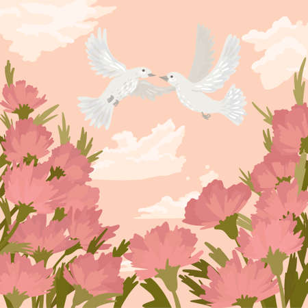 Couple of white doves kisses in the sky, a symbol of peace and love, greeting card for the wedding. Square card. Vector illustration