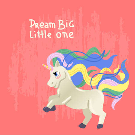 Unicorn with a colored mane. The magic pony is jumping. Children s illustration. Vector print with an inscription. 矢量图像