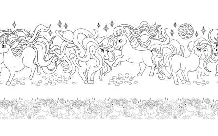 Unicorns. Endless seamless pattern, contour drawing. Coloring book for children, decoration for fabric. Vector cartoon design.