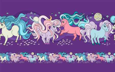 Unicorns. Seamless ornament, endless color drawing, vector illustration. Children pattern with unicorns.