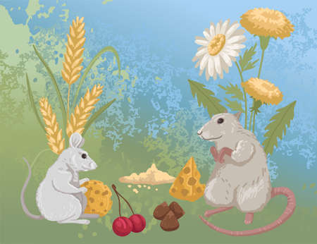 Field mouse and rat, rodents and their food, food in nature. Cartoon vector illustration 矢量图像