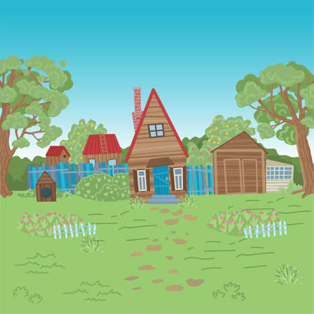 Old wooden house in the village, a fence, a doghouse, trees around. Wilderness. Farm life. Summer, village, nature. Vector illustration