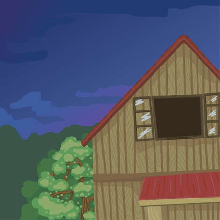 Attic of a wooden house, an open window, a house in a village, trees and prirordla around. Foresters hut. Vector illustration with background, cardboard style