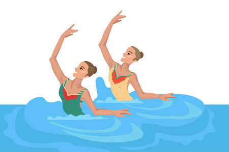 Girls in the pool, synchronized swimming, performing an exercise, dance in the water, sportswomans den