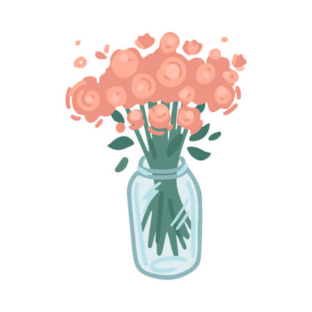 Vase with flowers, decor element, interior design, floristry. Simple cartoon flat drawing. Vector illustration