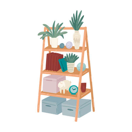 Bookcase, ladder shelf with flowers and books, Interior design element, wooden furniture, Scandinavian style. Vector simple object flat cartoon style