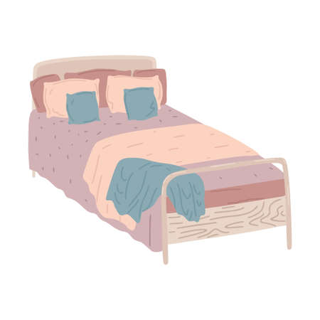 Bed with linens, pillows and blanket, a place to sleep. Interior design element, wooden furniture. Vector simple object flat cartoon style