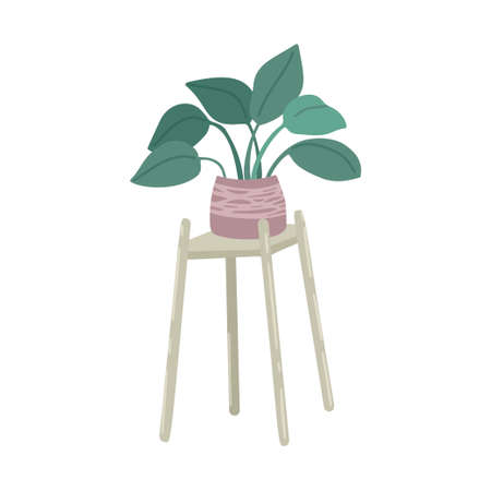 Home plant. Flower in a pot. Plant stand. Interior element, home furniture. Vector simple drawing, cartoon flat style