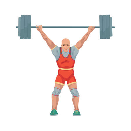 Man athlete lifts a heavy barbell, weightlifting illustration. Sport, character isolated on white background, childrens cartoon illustration 矢量图像