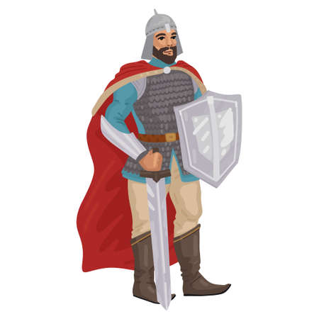 Warrior, knight with sword, medieval military character. Vector character isolated on white background. Flat style cartoon. 矢量图像