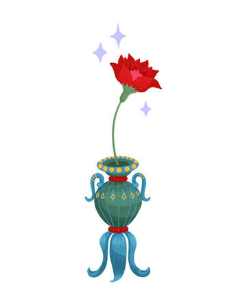 Red flower in a vase. Oriental vase, fairy flower, magic plant. Vector isolated object on a white background. 矢量图像