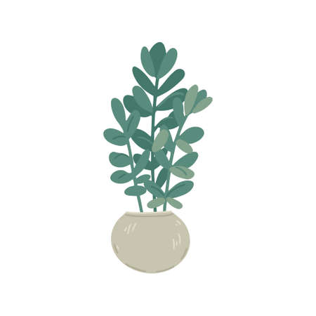 Flowerpot with a plant, indoor plants, decor element, interior design, floristry. Simple cartoon flat drawing. Vector illustration