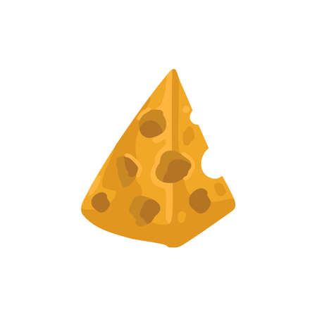 A piece of cheese with holes. Yellow cheese, food, snack. Icon, vector illustration, cartoon flat drawing style