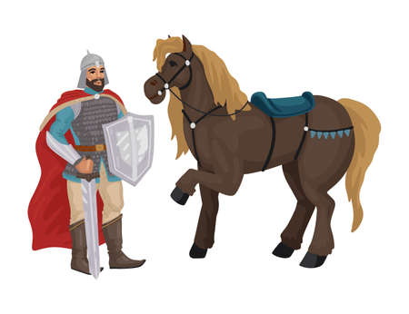 Warrior with horse, knight with sword, medieval military character. Vector character isolated on white background. Flat style cartoon.
