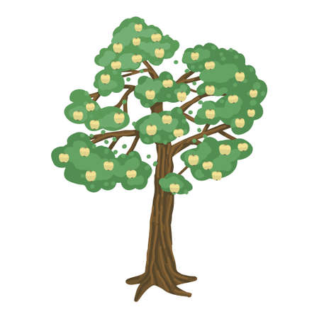 Tree, apple tree with apples. The isolated object on a white background. Vector childrens illustration 矢量图像