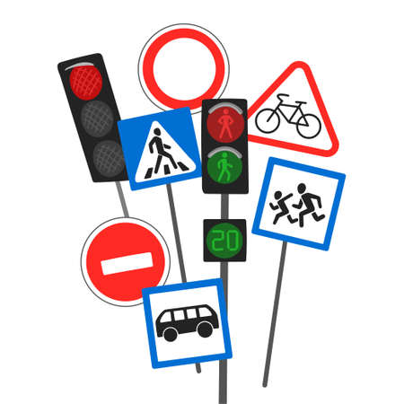 Traffic lights and traffic signs, different designations of actions on the road, road safety training. Vector drawing on a white background