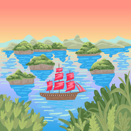 Islands in the sea, floating sailboat, red sails, travel vadol shores, childrens cartoon flat vector illustration
