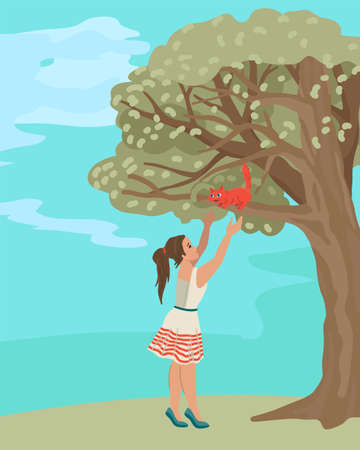 Schoolgirl removes a kitten from a tree, rescues an animal. Little red cat. Nature, outside. Cute kids illustration. Vector drawing