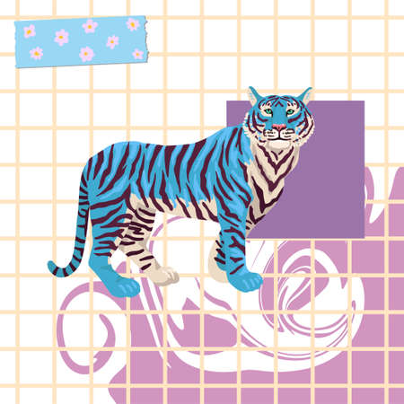 Abstract background with tiger. Vector checkered pattern, blue design. Print illustration, square cover design. 矢量图像