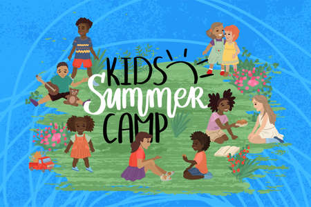 Design poster summer kids camp. Children around the headline. Walk in the park. Lettering and characters. Vector illustration of a print for kindergarten.