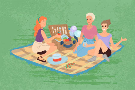 Female picnic in park. Women together are relaxing outdoor. Vector cartoon illustration