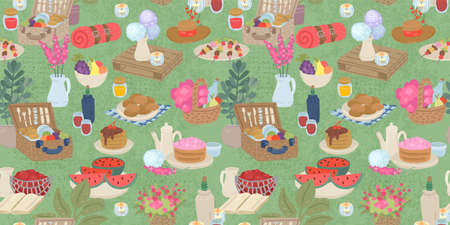 Picnic in nature, flowers, wine and food. Seamless pattern, vector pattern for textiles, cafe menu design, illustration of the summer food festival. 免版税图像