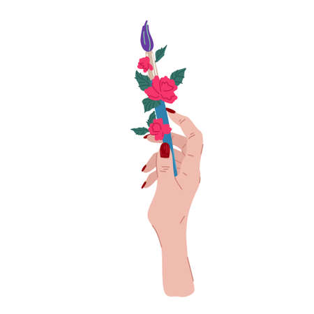 Hand with brush and flowers. Creativity symbol, drawing process, artists hand. Print design, decoration element. Vector cartoon flat illustration